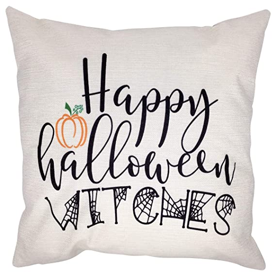 Arundeal 18 x 18 Inch Happy Halloween Witches Decorative Cotton Linen Square Throw Pillow Cases Cushion Cover