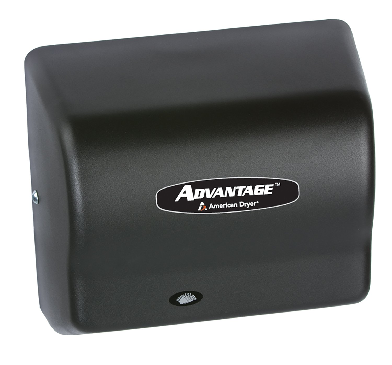Image of American Dryer AD90-BG Advantage Steel Standard Automatic Hand Dryer, Black Graphite Epoxy Finish, 1/8 HP Motor, 100-240V, 5-5/8' Length x 10-1/8' Width x 9-3/8' Height Hand Dryers