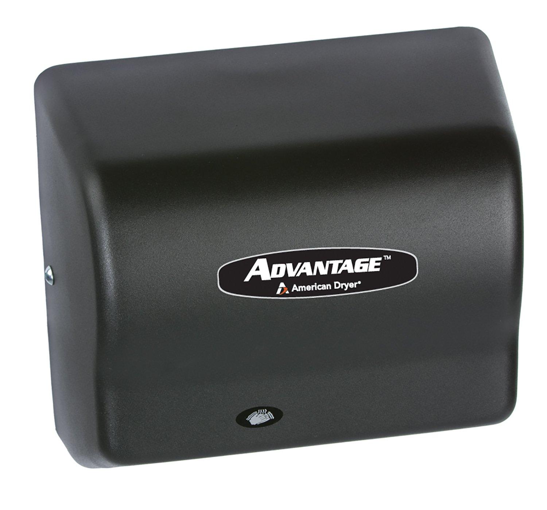 Image of American Dryer AD90-BG Advantage Steel Standard Automatic Hand Dryer, Black Graphite Epoxy Finish, 1/8 HP Motor, 100-240V, 5-5/8' Length x 10-1/8' Width x 9-3/8' Height Hand Dryers