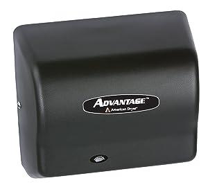American Dryer AD90-BG Advantage Steel Standard Automatic Hand Dryer, Black Graphite Epoxy Finish, 1/8 HP Motor, 100-240V, 5-5/8