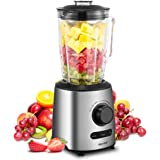 Comfee Professional Smoothie Blender with 3 Preset Programs (Ice crush, Pulse, Smoothie) Variable Speeds Control (Silver)