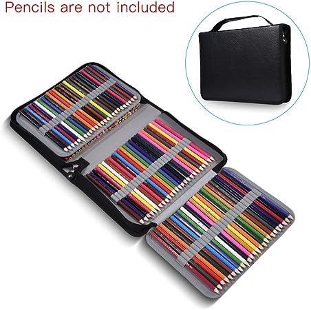 Simlug Estuche de 150 ranuras de color, estuche de tela de cuero PU de gran capacidad con cremallera(Negro): Amazon.es: Hogar