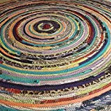4' Colorful Round Rag Rug, Made to Order YOU Choose Colors! 4 foot Diameter, Bohemian Upcycled Handmade