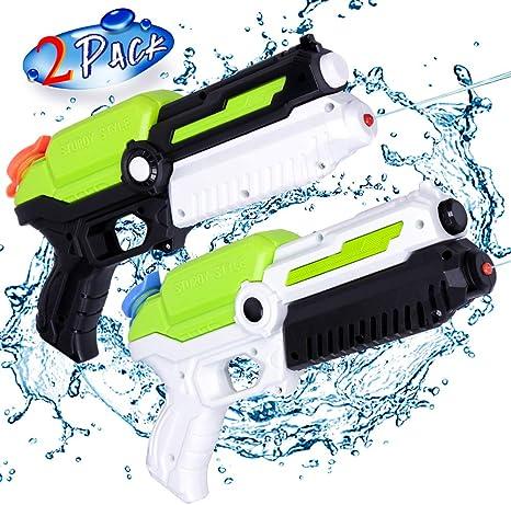 MOZOOSON Giocattoli per Bambini di 3 Anni, 2 Pack Pistole ad Acqua con 2x400ml capacità per Bambini, Water Squirt Gun per Water Fight Grandi