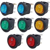 led rojo Barco Interruptores Basculantes Redondo12V 20A//24V 10A para autom/óviles CESFONJER 12 pcs Interruptor basculante,3Pin SPST NO//Off con alambres previamente Soldados