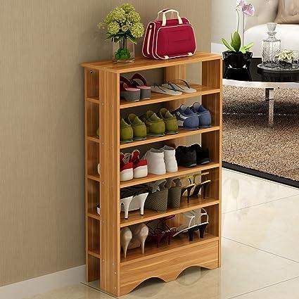 Soges Shoe Racks Solid Wood Shoe Storage Shelf Organizer 5 Tiers Teak,  L15 HFY