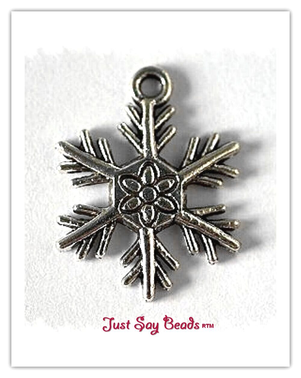10 x Antique Silver Plated 'SNOWFLAKE' Charms (24mm). Jump rings included for attachments. Universal use for Jewellery, Card Making and Scrap-booking. *High Quality, NICKEL & LEAD FREE Charms* (Ref:10B64W) Just Say Beads