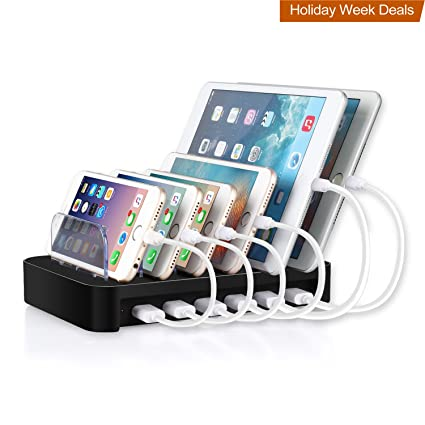 MixMart 6 Port USB Charging Station Docks For Multiple Devices Like IPhone/  IPad/