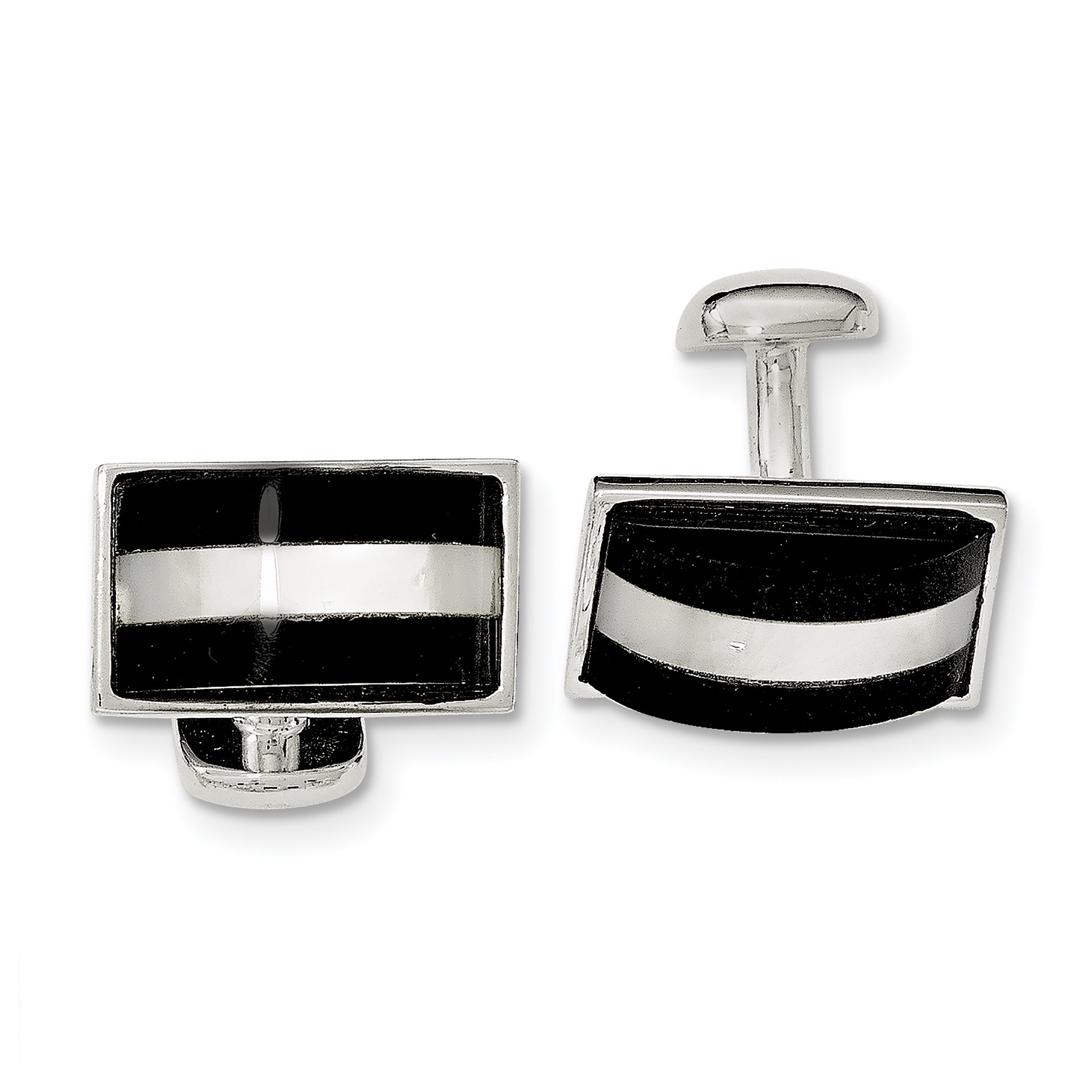 ICE CARATS 925 Sterling Silver Mother Of Pearl Black Onyx Cuff Links Mens Cufflinks Link Man Fine Jewelry Dad Mens Gift Set