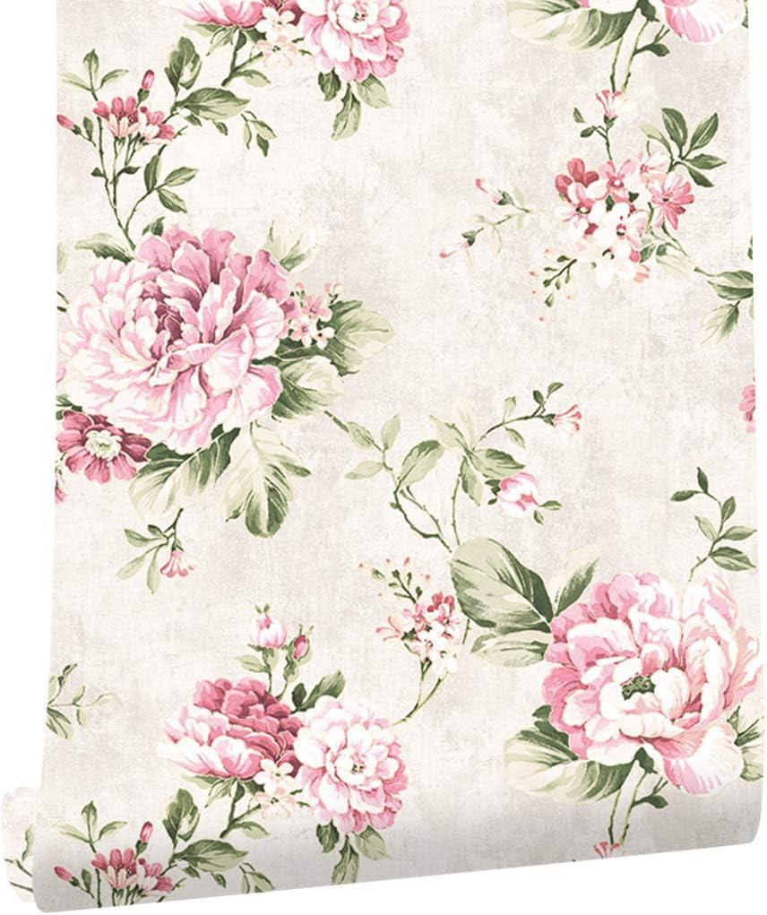 Haokhome Dr3071 Non Woven Vintage Flower Wallpaper Cream Pink Home Bedroom Wallpaper 20 8 X 393 7 Wallpaper Amazon Canada