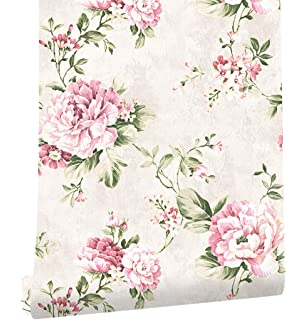 American wallpaper retro rustic wallpaper green country floral haokhome dr3071 non woven vintage flower wallpaper creampink home bedroom wallpaper 208 x mightylinksfo