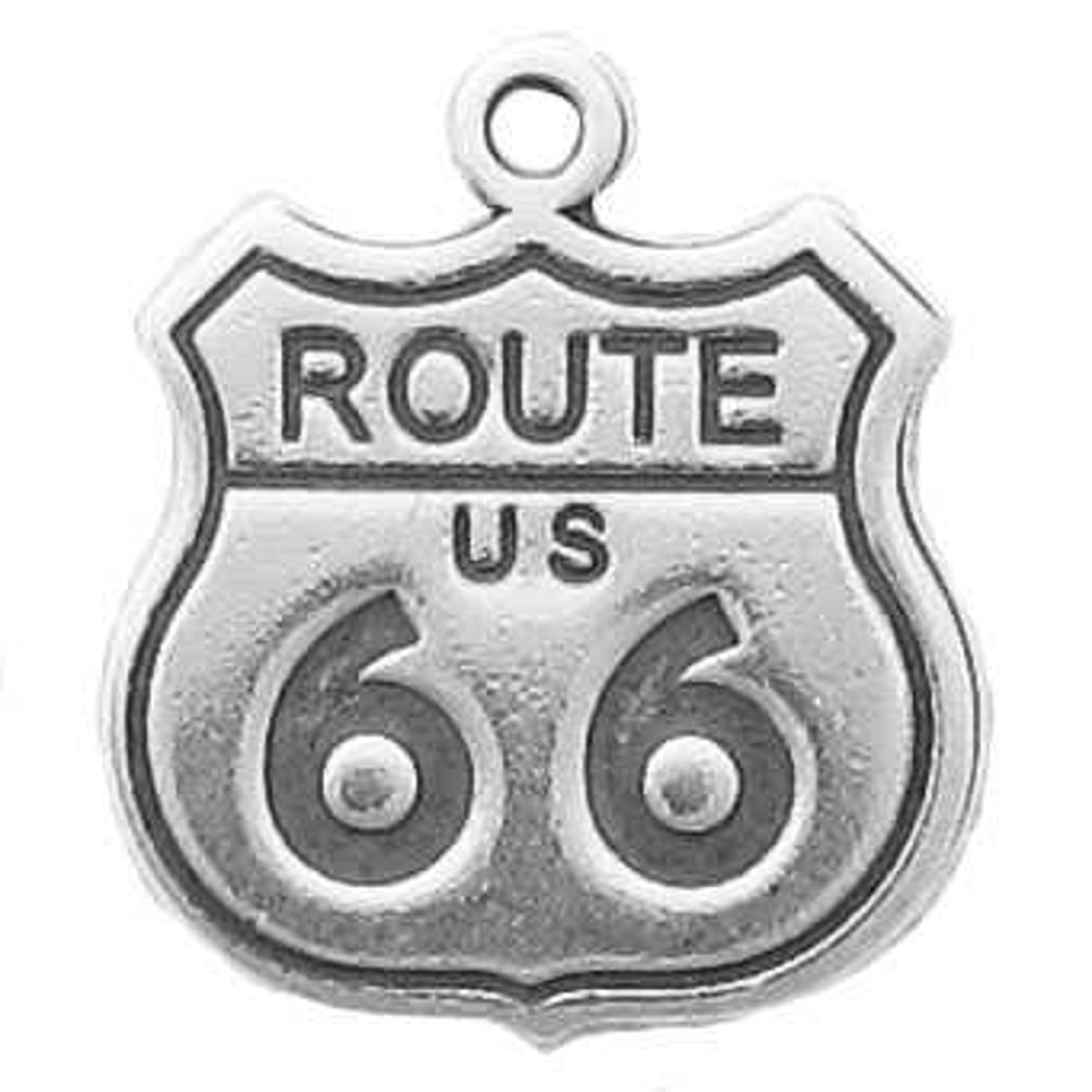 Sterling Silver 3D US Route 66 Sign Travel Road Trip Charm