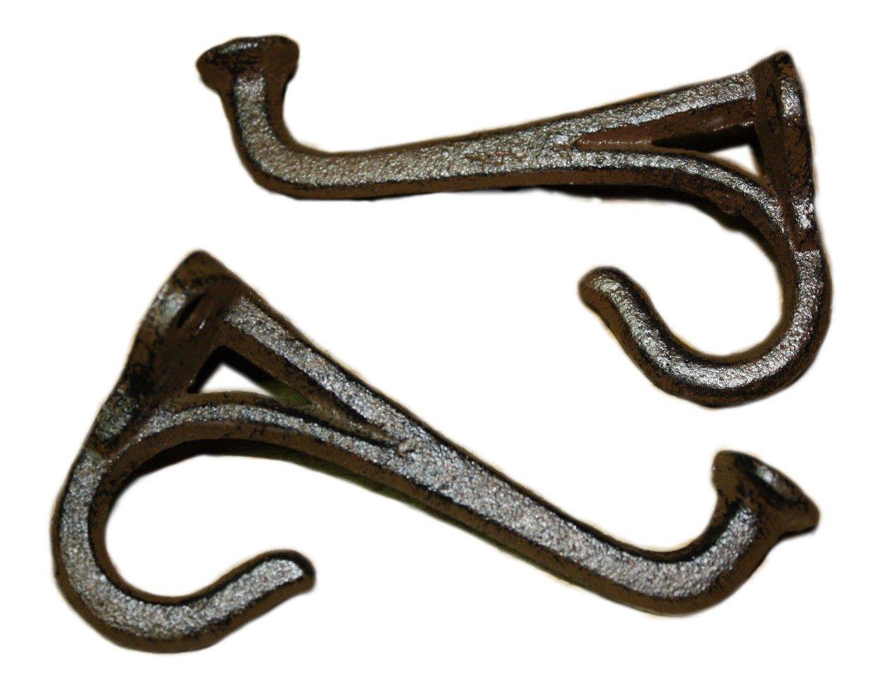 1 Cast Iron Tack Saddle Hook Style Coat Hooks Hat Hook Rack Hall Tree BROWN