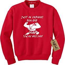 c3202ab34759a3 NuffSaid Just an Ordinary Demi Dad Men's Crewneck Sweatshirt - Premium  Father's Day Crew