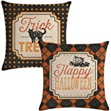 ULOVE LOVE YOURSELF 2Pack Halloween Decor Pillow Covers Black Cat/Pumpkin Pattern Pillow Case with Happy Halloween/Trick…