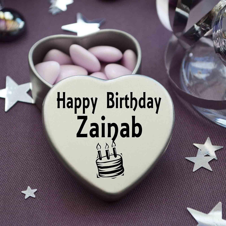 Happy Birthday Zainab Mini Heart Tin Gift Present For Zainab With