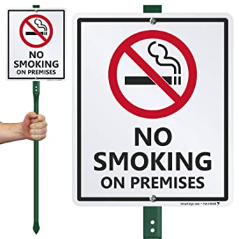 """No Smoking Red//White Flexible Plastic Sign 12/""""x9/"""" S-15"""