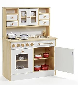 Kinder-Holz-Spielküche 2033 - Weiß - Kinderküche - Herd Spüle Backofen  Schrank