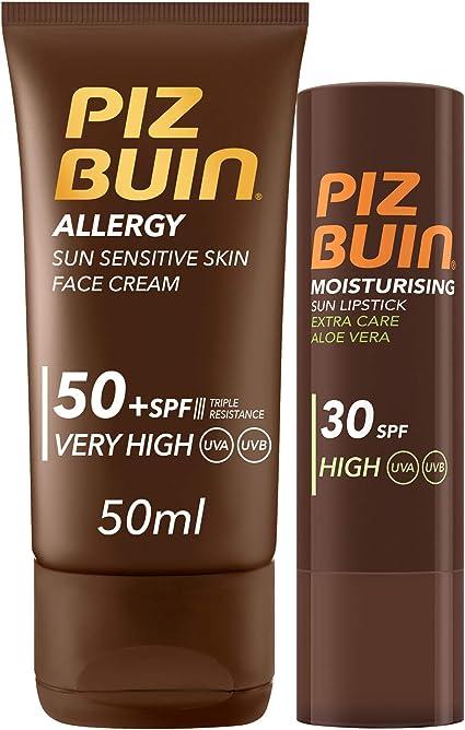 Piz Buin Allergy - Pack con Protector Solar Facial SPF 50 y Protector Labial SPF 30, 50 ml: Amazon.es: Belleza