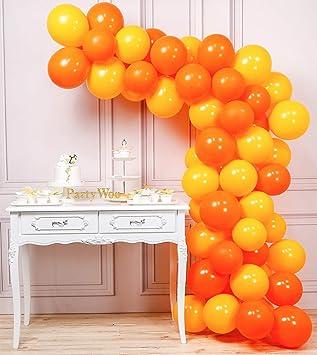 Putwo Globos Naranjas Y Amarillos Globos 60 Piezas 12
