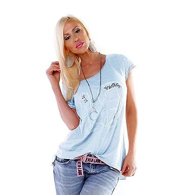 Destroyed Stone Kurzarm Sommer S Longshirt Damen Tunika Mint Mit M Batik Shirt L Pailletten Washed dCqwnAg