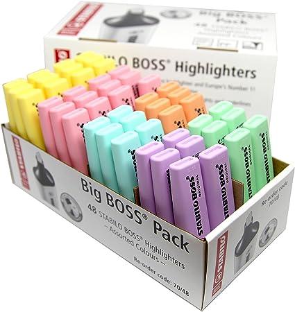Stabilo Boss – Rotulador fluorescente varios colores en tonos pastel (Pack de 48): Amazon.es: Oficina y papelería
