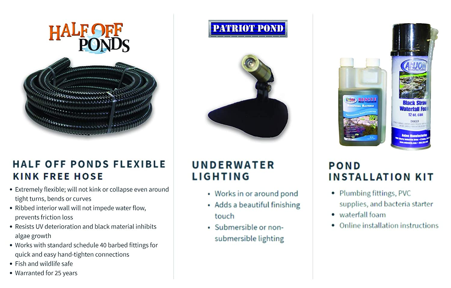 Amazon.com : Half Off Ponds PVCMDH4 - Medium Hybrid PVC Pond Kit w/ 15 x 25 PolyGuard Pond Liner, 3, 300 GPH Pump, 16