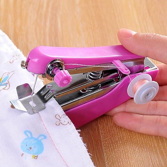 Alokie Mini Máquina de Coser Portátil, Herramienta Manual Portátil Herramienta de Puntada Rápida para Tela, Ropa o Tela de Niños (Color al azar): Amazon.es: ...