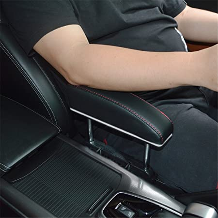 GFYWZ Car Armrest Rest Pads,Vehicle Truck Universal Central Elbow Support  Pad For Long-Term Drivers Arm Comfort Pad,Black+Red