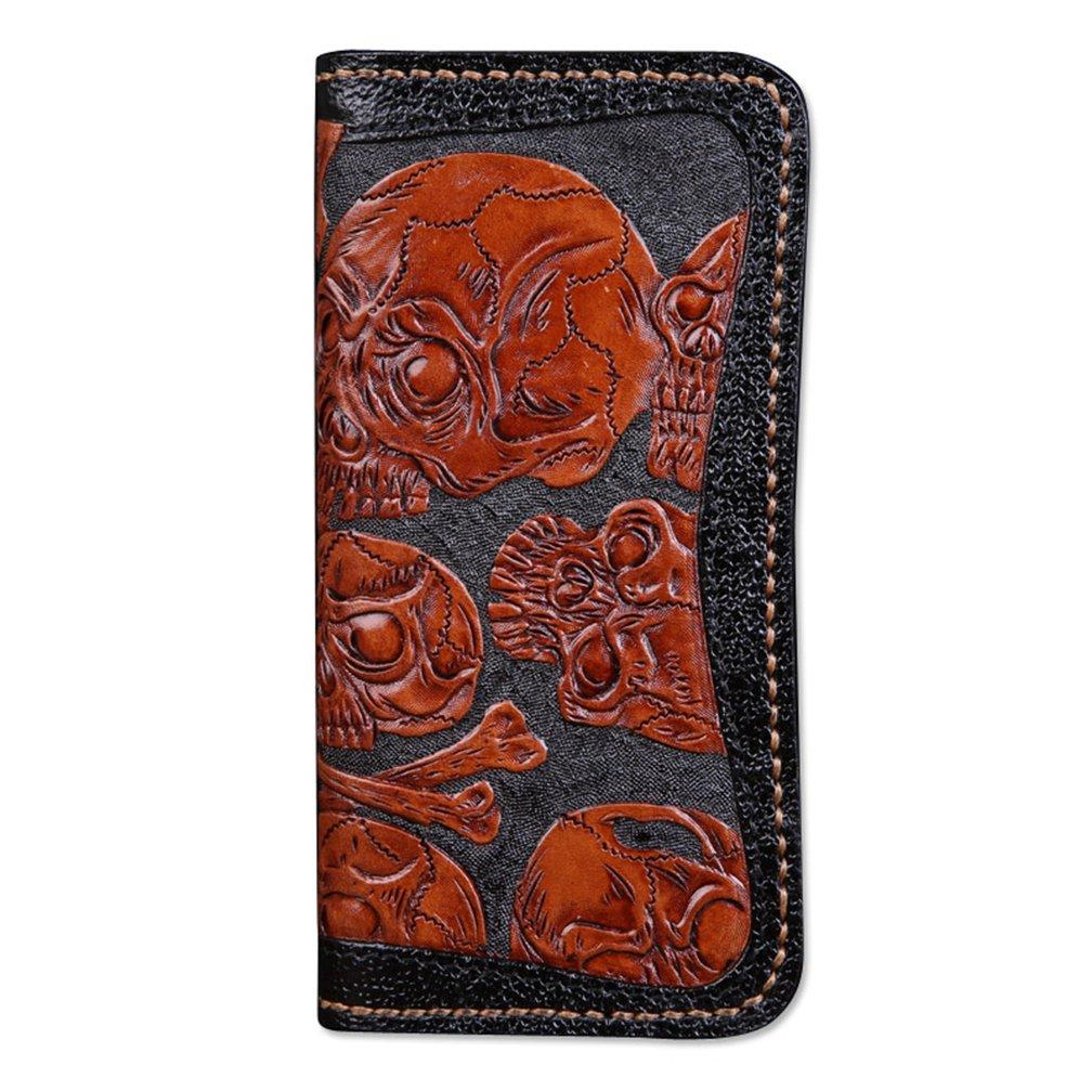 [龍紋鬼] 和柄財布 完全オリジナル手作り 牛革 レーザーウオレット 長財布 B01N0YWG64 スカル- 4ボタン スカル- 4ボタン
