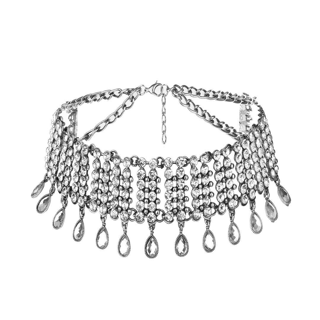 Gabrine Womens Girls Multilayer Hollow Collar Choker Short Necklace Fashion Shiny Rhinestone for Wedding Bridal Party Prom(Silver)