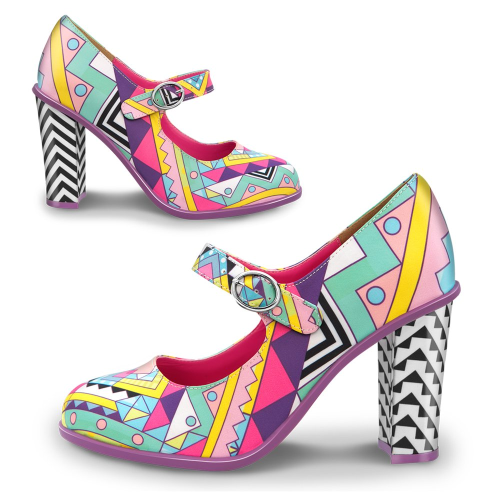 Hot Chocolate Design Chocolaticas Chocolaticas Design Geometric Mary Jane Damen-Absatzschuhe 34769a