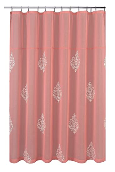 Amazon.com: Coral shower curtain plus white curtain liner: Home ...