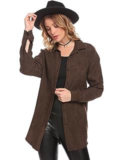 f6910e8f934460 Zeagoo Women Boyfriend Lapel Long Sleeve Loose Fit Suede Button Down Shirt  Coat