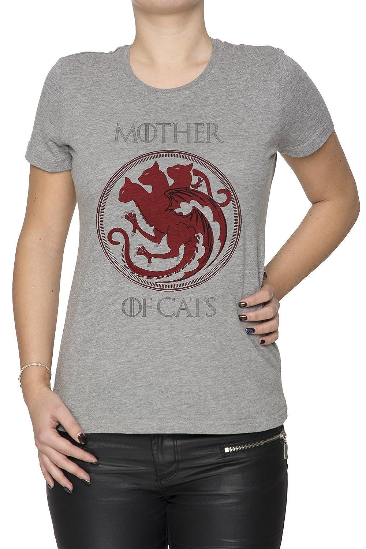 Mother of Cats Mujer Camiseta Cuello Redondo Gris Manga Corta Todos Los Tamaños Womens Grey