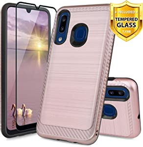TJS Case for Samsung Galaxy A20/Galaxy A30/Galaxy A50, with [Full Coverage Tempered Glass Screen Protector] Hybrid Shockproof Protection Phone Cover Metallic Brush Finish Hard Inner Layer (Rose Gold)