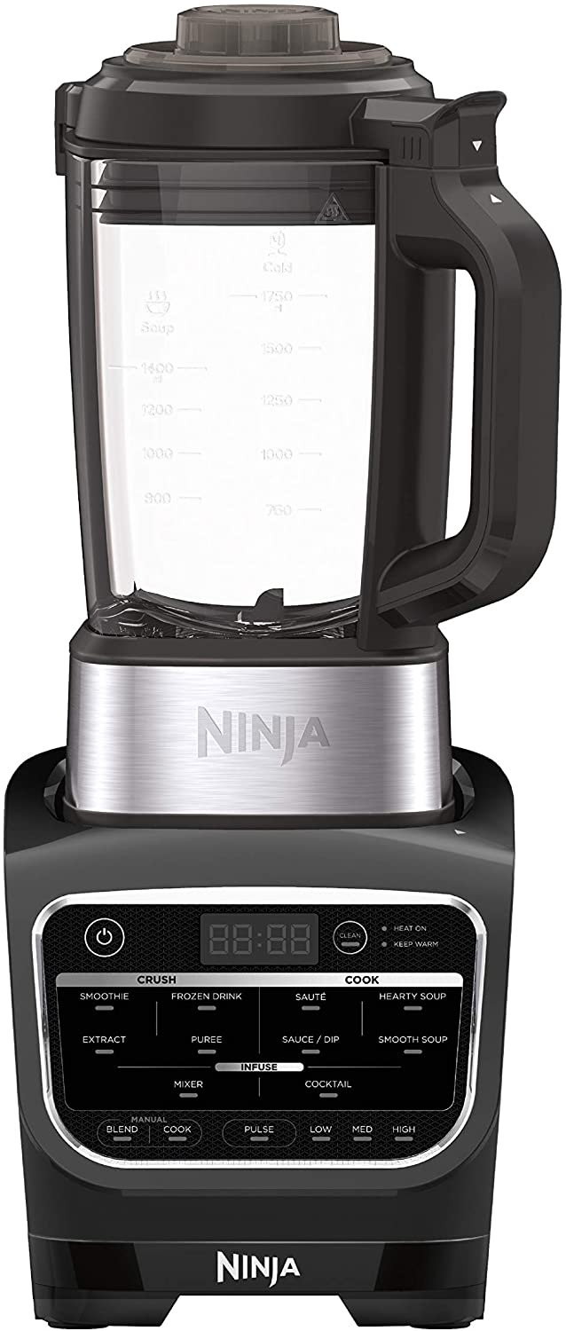 Ninja Foodi Cold & Hot Cook Hot Soups, Sauces and Dips Blender with 1400 Peak Watts to Crush Frozen Drinks & Smoothies Nonstick Glass Pitcher (HB100), 64 oz, Black (Renewed)
