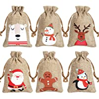 CCINEE 6 Syltes Christmas Linen Bags, with Drawstrings Christmas Burlap Gift Bags with Double Jute Drawstrings,12Pieces…