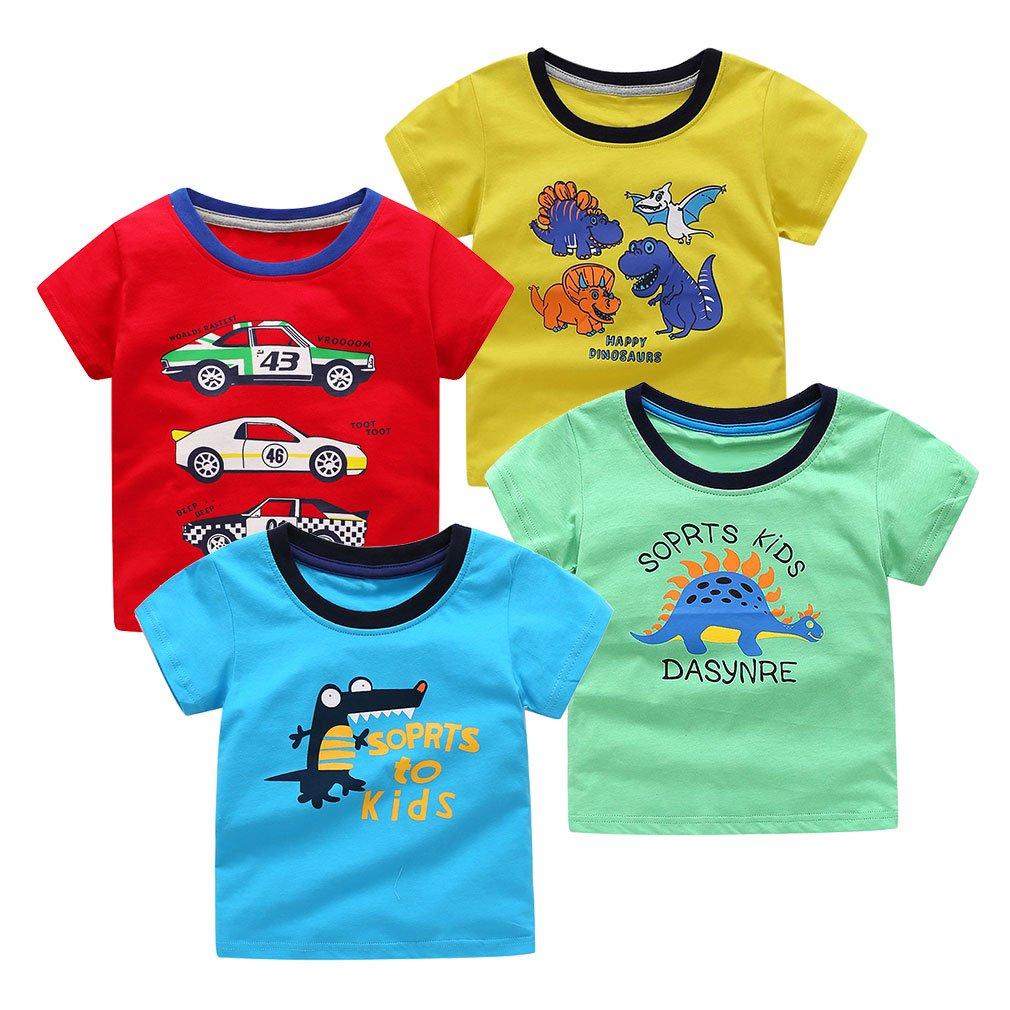 SAYM Little Boys' 4-Pack Multi Cotton Dinosaur Short Sleeve Tee Shirts NO3 2T