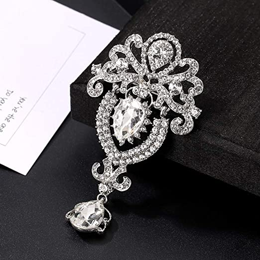 Luxury Pearl Rhinestone Letter Brooch Painting Oil Gold Flower Brooch Pin For Women Girls Creative Jewelry Accessories