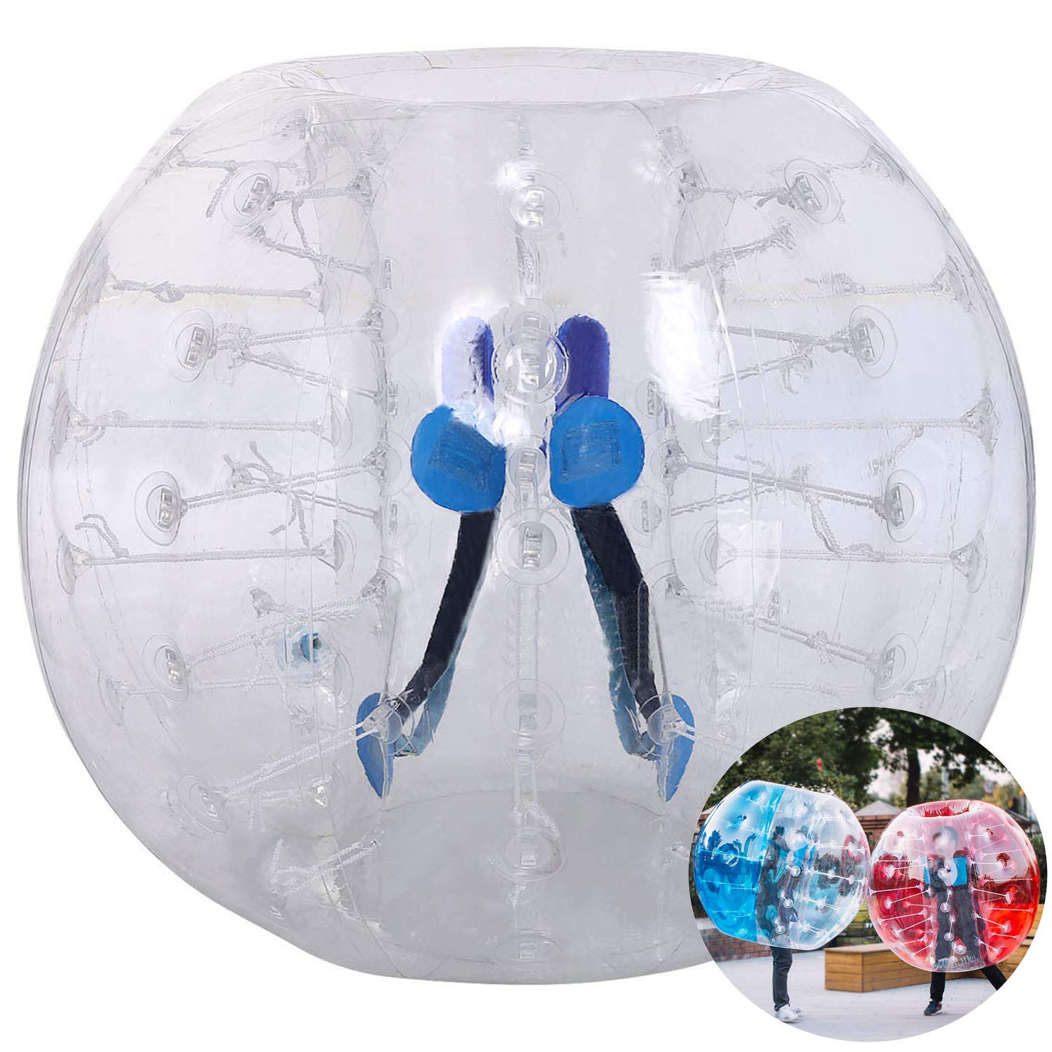 Inflatable Bumper Bubble Soccer Ball, Giant Human Hamster Ball Knocker Ball for Adults & Teens, Body Bumper Dia 4ft/5 ft(1.2m/1.5m) with Repair kit[US Stock] (White(1.2M))