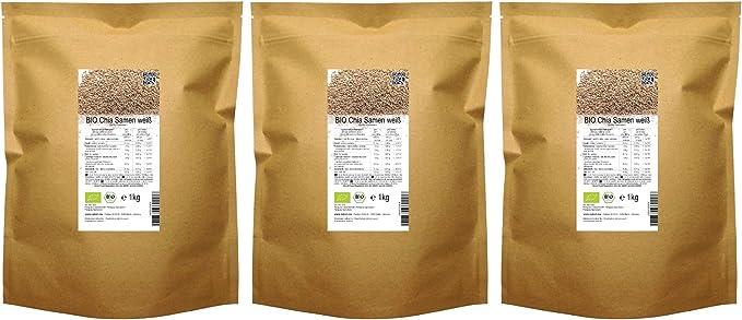 Semillas de Chía blanca de calidad orgánica BIO («Salvia hispanica») 3 kg (3 x 1 kg) : Amazon.es: Alimentación y bebidas