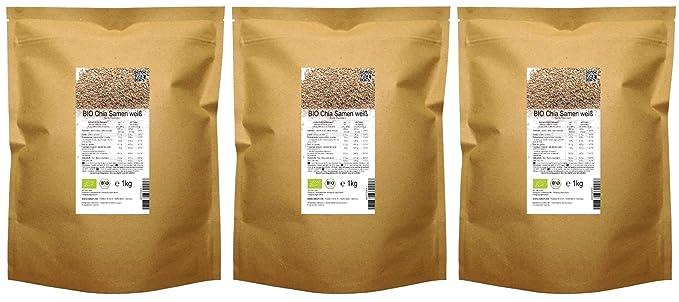 Semillas de Chía blanca de calidad orgánica BIO («Salvia hispanica») 3 kg (3 x 1 kg)