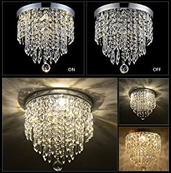 "Hile Lighting KU300074 Modern Chandelier Crystal Ball Fixture Pendant Ceiling Lamp H9.84"" X W8.66"", 1 Light"