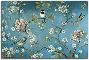 Almond Blossom Wall Art Frameless Canvas Wall Art Flower Bird Decor For Bedroom Bathroom Artwork For Walls Modern Wall Decorations Prints Picture For Kitchen Home Decor Size 12