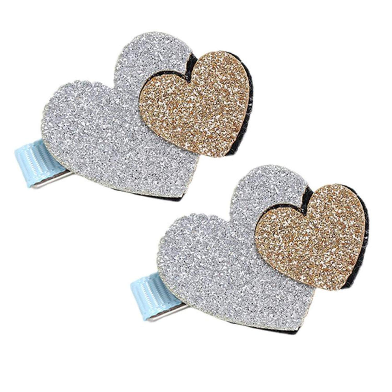 2Pcs Baby Girls Toddler Infant Kids Heart Pattern Hairpin Hair Clip Accessories Baby Headbands For Girls,Blue