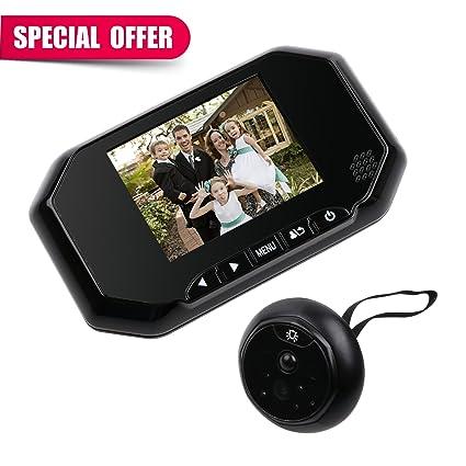 kebidu 3,5 pulgadas Digital puerta mirilla visor cámara con sensor PIR de movimiento IR