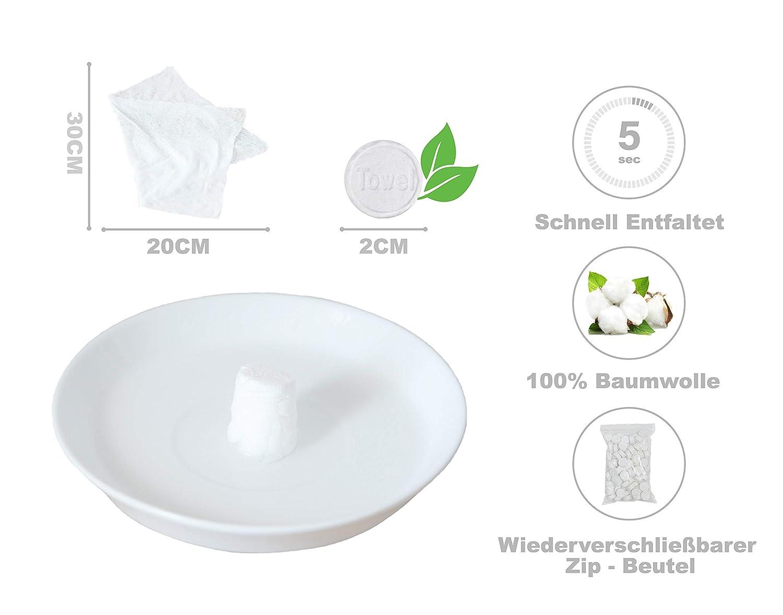 Pentaton - Paquete de 100 toallitas refrescantes en forma de tabletas, toallitas comprimidas, paño seco que ahorra espacio, reutilizable, toallitas ...