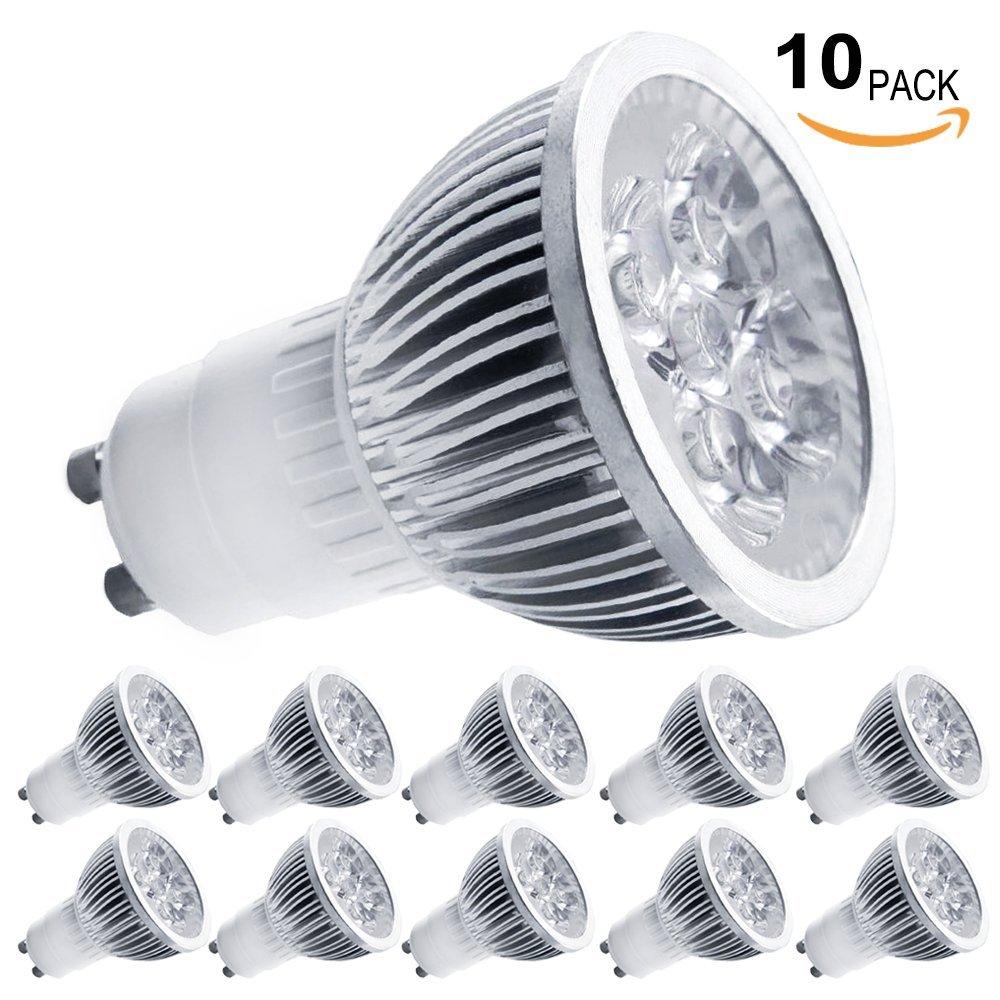 10-Pack 4W GU10 LED Bulbs - 7000K Daylight LED Spotlights - 85V-265V (330 Lumen - 50Watt Equivalent) 45 Degree Beam Angle