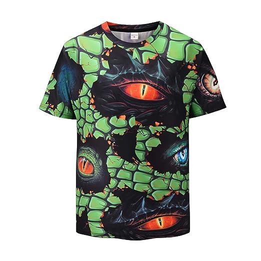 2439fbe6dd Mens Novelty Printed T-Shirts Women Short Sleeve Casual T-Shirts Dragon Eye  Crewneck